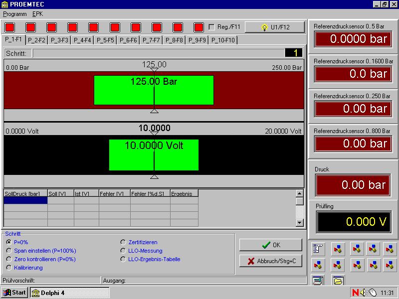 Bild von Softwareoberfläche Prüfstand